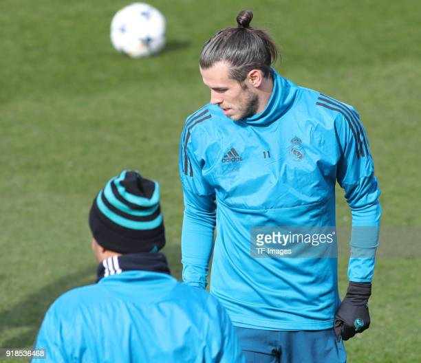 Gareth Bale of Real Madrid looks on during a training session at Valdebebas training ground ahead their Round of 16 first leg UEFA Champions League...