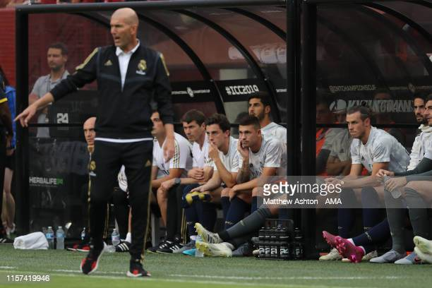 Gareth Bale of Real Madrid looks on during the International Champions Cup fixture between Real Madrid and Arsenal at FedExField on July 23, 2019 in...