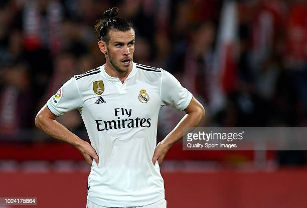 Gareth Bale of Real Madrid looks on during the La Liga match between Girona FC and Real Madrid CF at Montilivi Stadium on August 26 2018 in Girona...