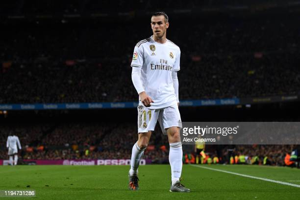 Gareth Bale of Real Madrid looks on during the Liga match between FC Barcelona and Real Madrid CF at Camp Nou on December 18, 2019 in Barcelona,...