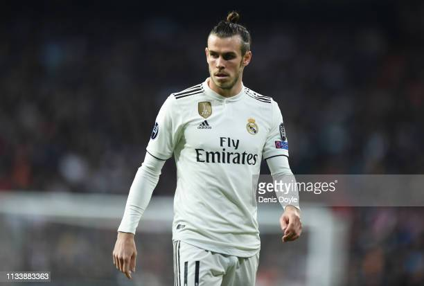 Gareth Bale of Real Madrid looks on during the UEFA Champions League Round of 16 Second Leg match between Real Madrid and Ajax at Bernabeu on March...