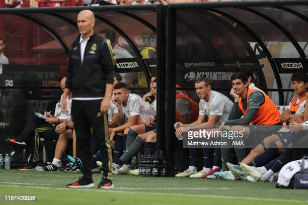 Gareth Bale of Real Madrid looks on from the bench during the International Champions Cup fixture between Real Madrid and Arsenal at FedExField on...