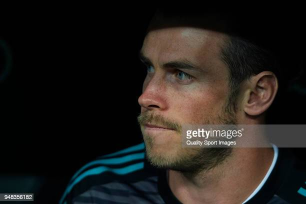 Gareth Bale of Real Madrid looks on prior to the La Liga match between Real Madrid and Athletic Club at Estadio Santiago Bernabeu on April 18 2018 in...