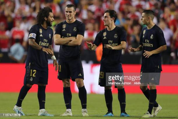 Gareth Bale of Real Madrid looks on with his team mates during a penalty shoot out during the International Champions Cup fixture between Real Madrid...