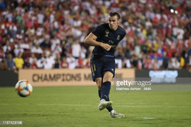 Gareth Bale of Real Madrid misses his penalty during the International Champions Cup fixture between Real Madrid and Arsenal at FedExField on July 23...