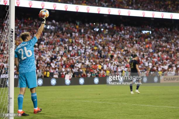 Gareth Bale of Real Madrid misses his penalty during the International Champions Cup fixture between Real Madrid and Arsenal at FedExField on July...