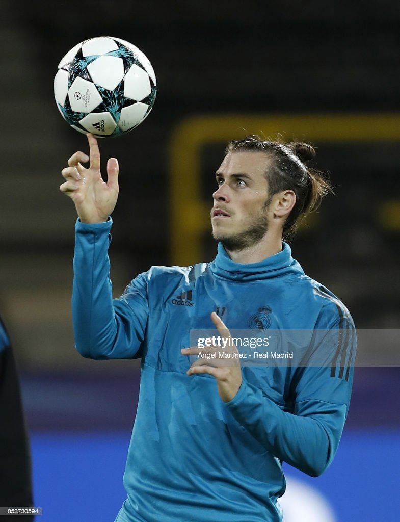 Gareth Bale of Real Madrid plays with the ball during a training session at Signal Iduna Park on September 25, 2017 in Dortmund, Germany.