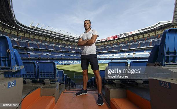 Gareth Bale of Real Madrid poses during an interview for Real Madrid Media at Estadio Santiago Bernabeu on August 27 2015 in Madrid Spain