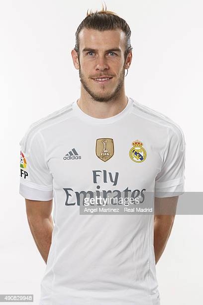 Gareth Bale of Real Madrid poses during the official portrait photocall at Valdebebas training ground on September 28 2015 in Madrid Spain