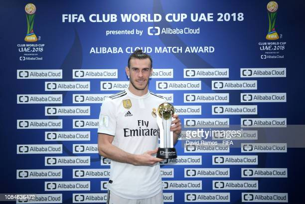 Gareth Bale of Real Madrid poses with the man of the match trophy during the FIFA Club World Cup semifinal match between Kashima Antlers and Real...