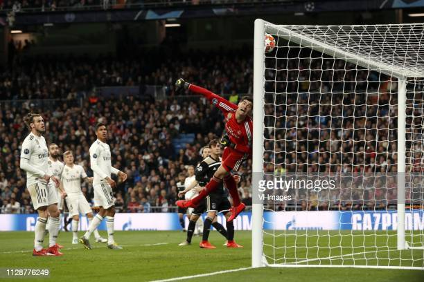 Gareth Bale of Real Madrid Raphael Varane of Real Madrid Lasse Schone of Ajax Daley Blind of Ajax Nico Tagliafico of Ajax Real Madrid goalkeeper...