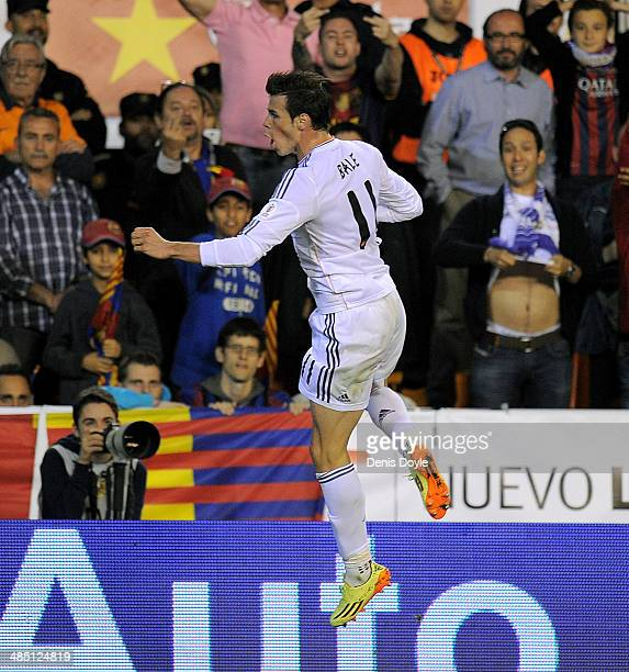 Gareth Bale of Real Madrid reacts after scoring Real's 2nd goal during the Copa del Rey Final between Real Madrid and Barcelona at Estadio Mestalla...
