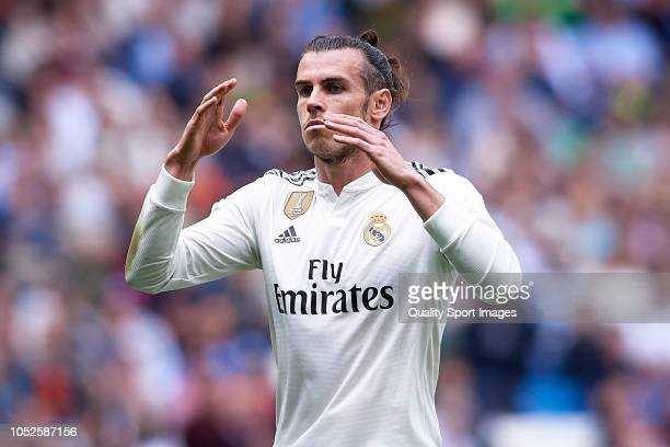 Gareth Bale of Real Madrid reacts during the La Liga match between Real Madrid CF and Levante UD at Estadio Santiago Bernabeu on October 20 2018 in...