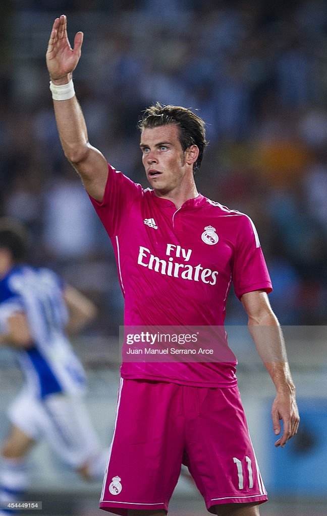 Gareth Bale of Real Madrid reacts during the La Liga match between Real Sociedad and Real Madrid CF at Estadio Anoeta on August 31, 2014 in San Sebastian, Spain.