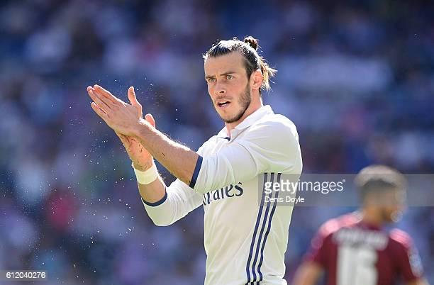Gareth Bale of Real Madrid reacts during the La Liga Match between Real Madrid CF and SD Eibar at estadio Santiago Bernabeu on October 2 2016 in...