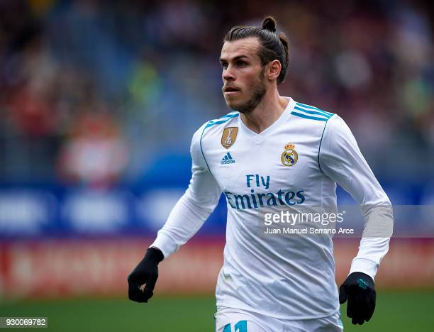 Gareth Bale of Real Madrid reacts during the La Liga match between SD Eibar and Real Madrid at Ipurua Municipal Stadium on March 10 2018 in Eibar...