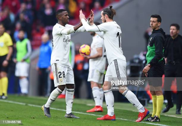 Gareth Bale of Real Madrid repalces Vinicius Junior as a substitute during the La Liga match between Club Atletico de Madrid and Real Madrid CF at...