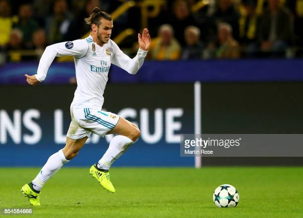 Gareth Bale of Real Madrid runs with the ball during the UEFA Champions League group H match between Borussia Dortmund and Real Madrid at Signal...