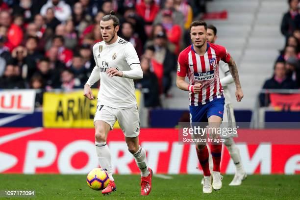 Gareth Bale of Real Madrid Saul Niguez of Atletico Madrid Sergio Ramos of Real Madrid during the La Liga Santander match between Atletico Madrid v...