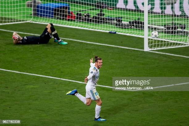 Gareth Bale of Real Madrid scores a goal during the UEFA Champions League final between Real Madrid and Liverpool on May 26 2018 in Kiev Ukraine
