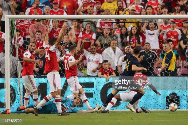 Gareth Bale of Real Madrid scores a goal to make it 1-2 during the International Champions Cup fixture between Real Madrid and Arsenal at FedExField...