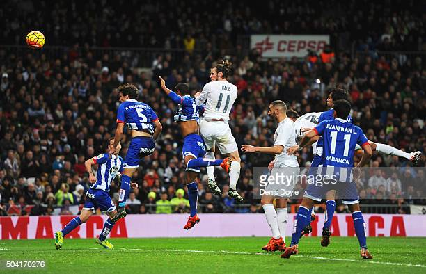 Gareth Bale of Real Madrid scores their fourth goal and completes his hat trick during the La Liga match between Real Madrid CF and RC Deportivo La...
