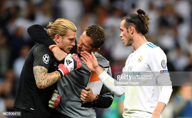 Gareth Bale of Real Madrid speaks with Loris Karius of Liverpool after the UEFA Champions League Final between Real Madrid and Liverpool at NSC...
