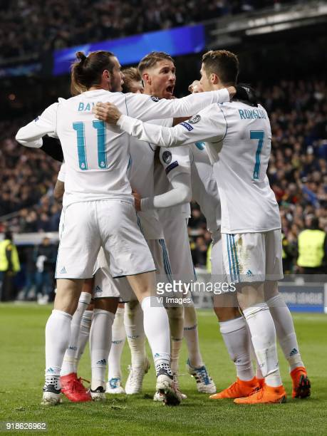 Gareth Bale of Real Madrid Toni Kroos of Real Madrid Lucas Vazquez of Real Madrid Marcelo of Real Madrid Sergio Ramos of Real Madrid Marco Asensio of...