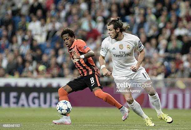 Gareth Bale of Real Madrid vies with Fred of Shakhtar Donetsk during the UEFA Champions League Group A football match between Real Madrid and Shaktar...