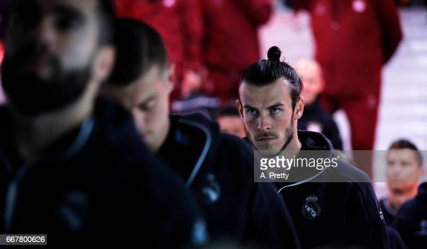 Gareth Bale of Real Madrid waits in the tunnel with his team mates before the UEFA Champions League Quarter Final first leg match between FC Bayern...