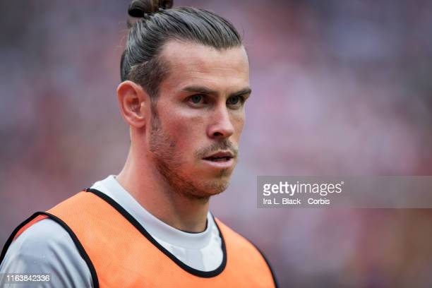 Gareth Bale of Real Madrid warms up during the International Champions Cup Friendly match between Arsenal F.C. And Real Madrid C.F. The match was...