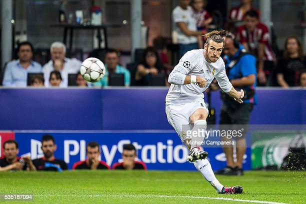 Gareth Bale of Real Madrid with a shot on goal during the UEFA Champions League final between Real Madrid and and Club Atletico Madrid at Stadio...