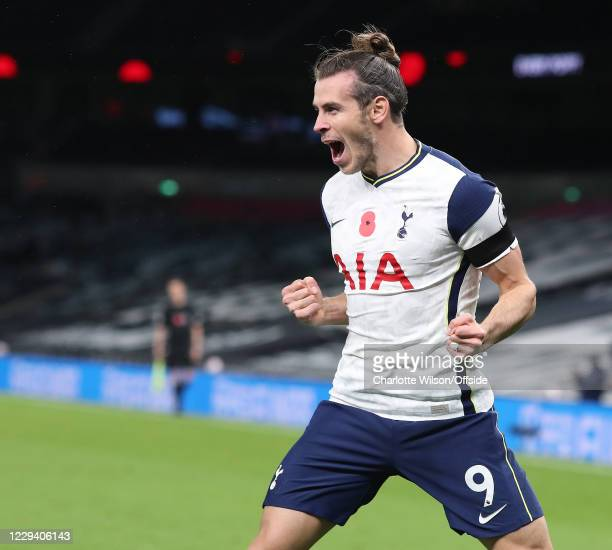 Gareth Bale of Spurs celebrates scoring their 2nd goal during the Premier League match between Tottenham Hotspur and Brighton & Hove Albion at...