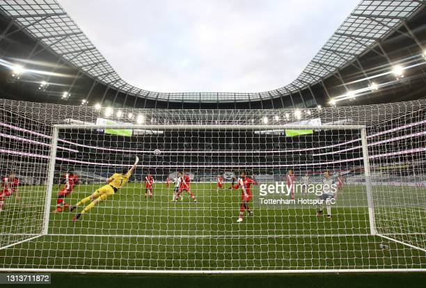 Gareth Bale of Spurs scores their first goal during the Premier League match between Tottenham Hotspur and Southampton at Tottenham Hotspur Stadium...