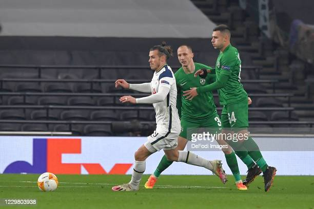 Gareth Bale of Tottenham Hotspur and Dominik YANKOV of Ludogorets and Anton NEDYALKOV of Ludogorets battle for the ball during the UEFA Europa League...