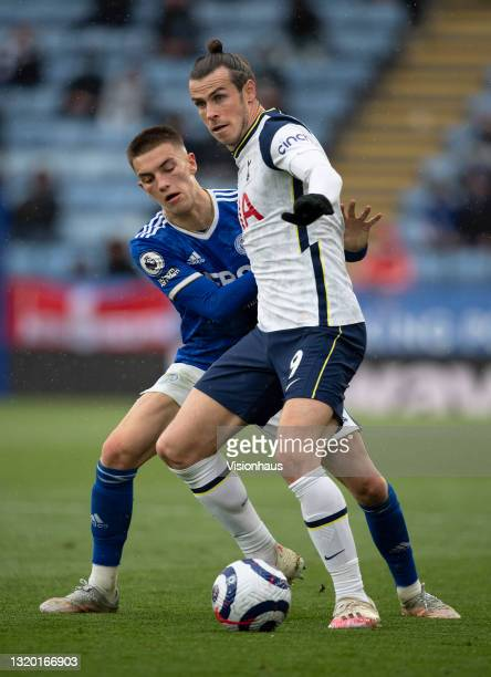 Gareth Bale of Tottenham Hotspur and Luke Thomas of Leicester City in action during the Premier League match between Leicester City and Tottenham...
