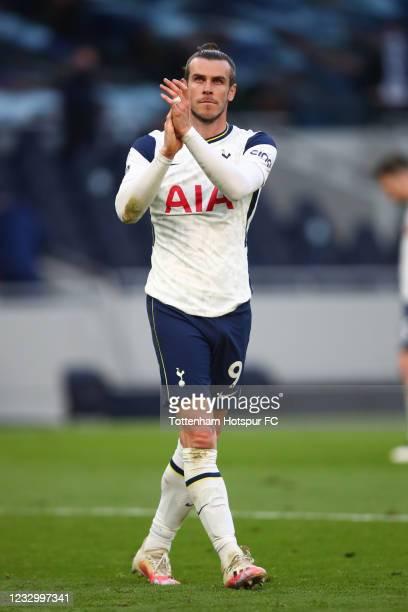 Gareth Bale of Tottenham Hotspur applauds during the Premier League match between Tottenham Hotspur and Aston Villa at Tottenham Hotspur Stadium on...