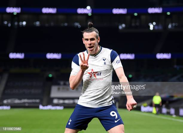 Gareth Bale of Tottenham Hotspur celebrates after scoring his hat-trick during the Premier League match between Tottenham Hotspur and Sheffield...
