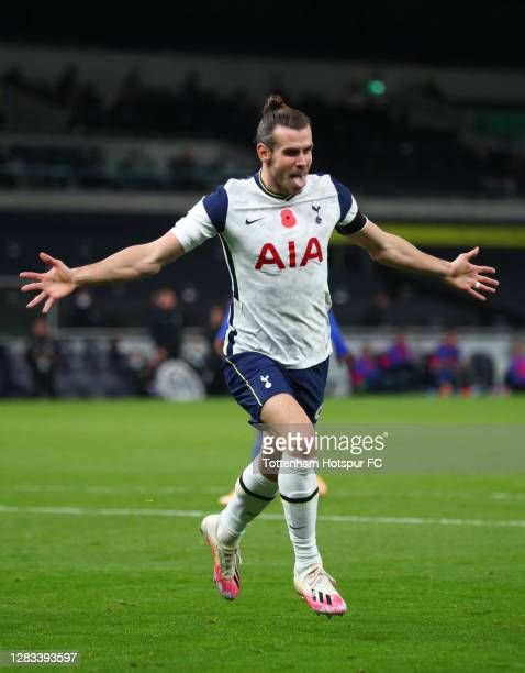 Gareth Bale of Tottenham Hotspur celebrates after scoring his sides second goal during the Premier League match between Tottenham Hotspur and...