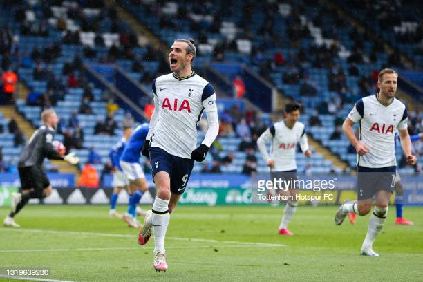 Gareth Bale of Tottenham Hotspur celebrates after scoring his team's third goal during the Premier League match between Leicester City and Tottenham...