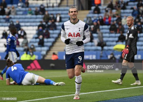 Gareth Bale of Tottenham Hotspur celebrates after scoring his team's fourth goal during the Premier League match between Leicester City and Tottenham...