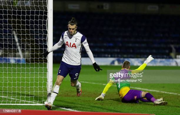 Gareth Bale of Tottenham Hotspur celebrates after scoring their sides first goal past Ryan Allsop of Wycombe Wanderers during The Emirates FA Cup...