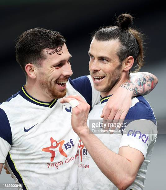 Gareth Bale of Tottenham Hotspur celebrates with team mate Pierre-Emile Hojbjerg after scoring their side's third goal and his hat trick during the...