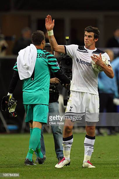 Gareth Bale of Tottenham Hotspur celebrates with the match ball after scoring a hat trick during the UEFA Champions League Group A match between FC...