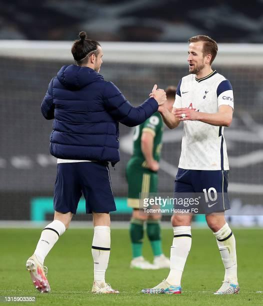 Gareth Bale of Tottenham Hotspur interacts with team mate Harry Kane following the Premier League match between Tottenham Hotspur and Sheffield...