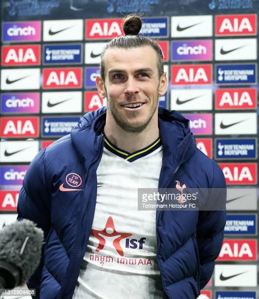Gareth Bale of Tottenham Hotspur is interviewed following the Premier League match between Tottenham Hotspur and Sheffield United at Tottenham...