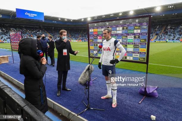 Gareth Bale of Tottenham Hotspur is interviewed following the Premier League match between Leicester City and Tottenham Hotspur at The King Power...
