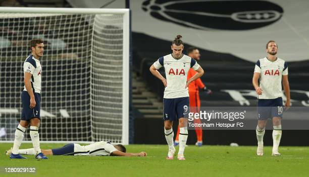 Gareth Bale of Tottenham Hotspur looks dejected after his team concede during the Premier League match between Tottenham Hotspur and West Ham United...