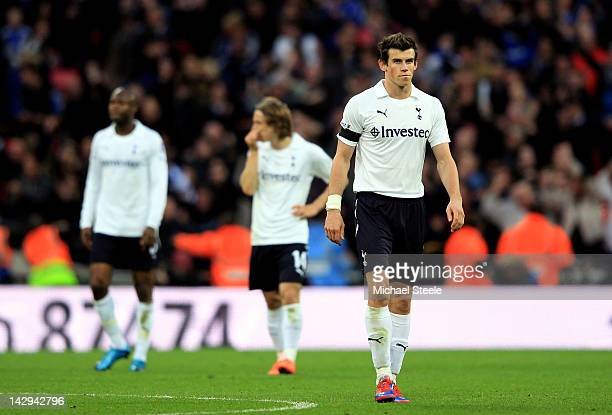 Gareth Bale of Tottenham Hotspur looks dejected during the FA Cup with Budweiser Semi Final match between Tottenham Hotspur and Chelsea at Wembley...
