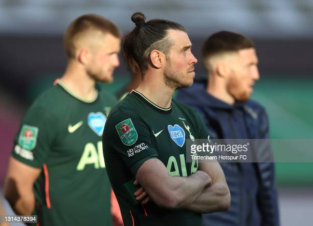 Gareth Bale of Tottenham Hotspur looks dejected following their side's defeat in the Carabao Cup Final between Manchester City and Tottenham Hotspur...